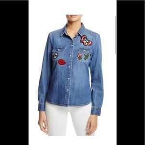 Vero Moda Womens Denim Shirt Patchwork LS